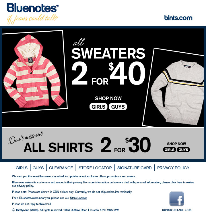 Bluenotes clothing collection is visually stunning, utterly spotless and exotic. Bluenotes is proudly Canadian in every single way, it is the number one denim seller in Canada.5/5(1).